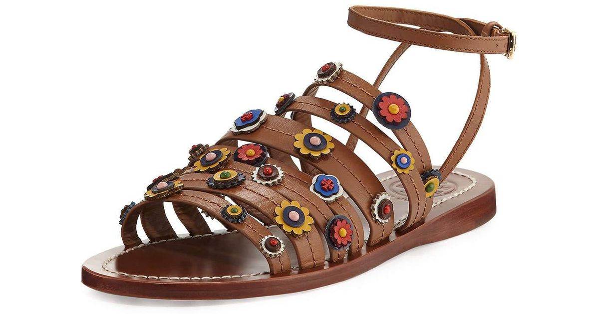 8dce9d08fd89f Lyst - Tory Burch Marguerite Floral Flat Sandal in Brown