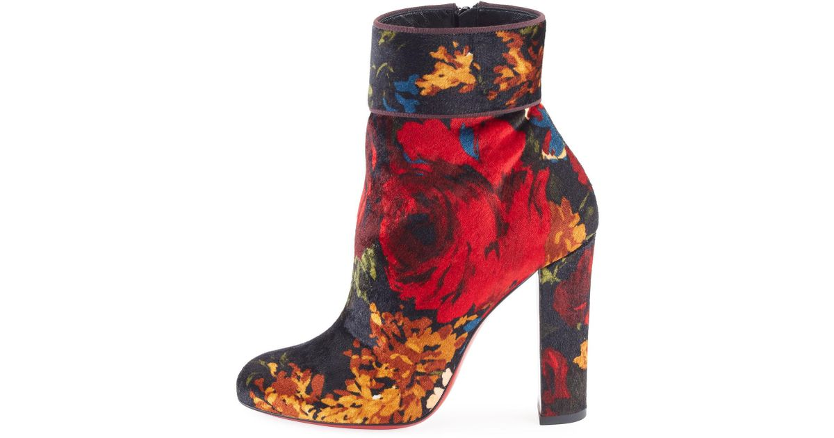 buy popular 1f4f0 e743b Christian Louboutin Black Moulamax Floral Velvet 100mm Red Sole Bootie
