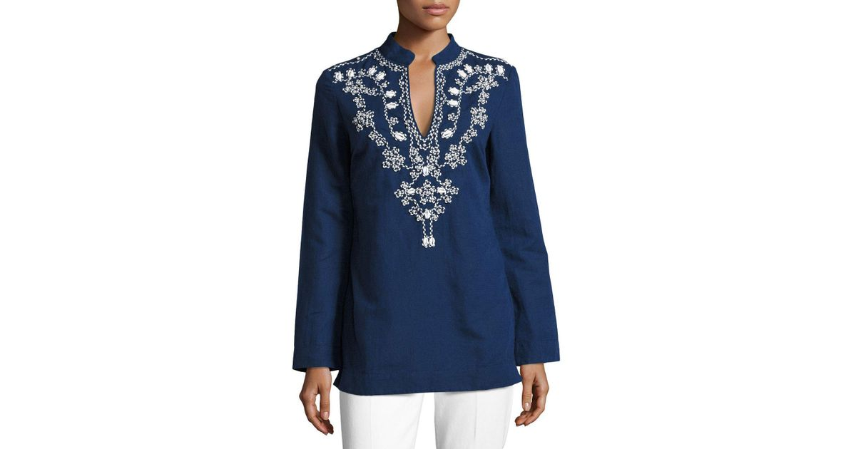 9363692a26f Tory Burch Long-sleeve Embellished Tory Tunic W/ Puka Shells in Blue - Lyst