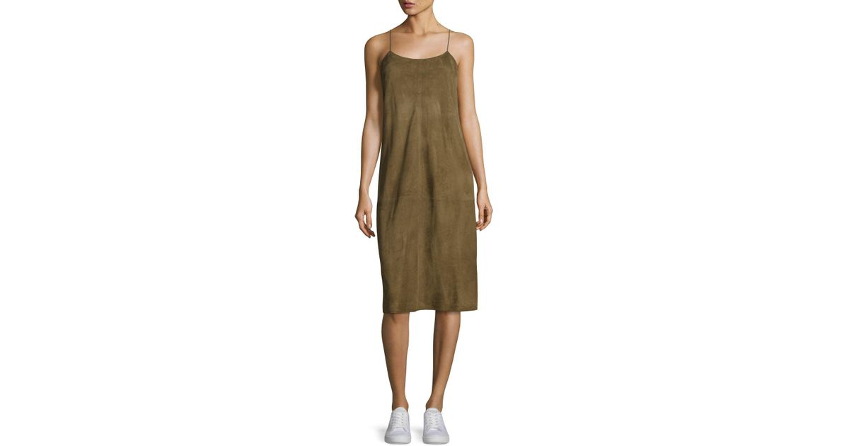 461cac66b0f Theory Telson S Metises Suede Midi Dress in Green - Lyst