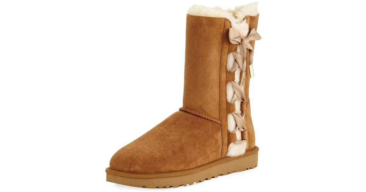 a47bef276c2 Ugg Brown Pala Corset Bow Short Boot