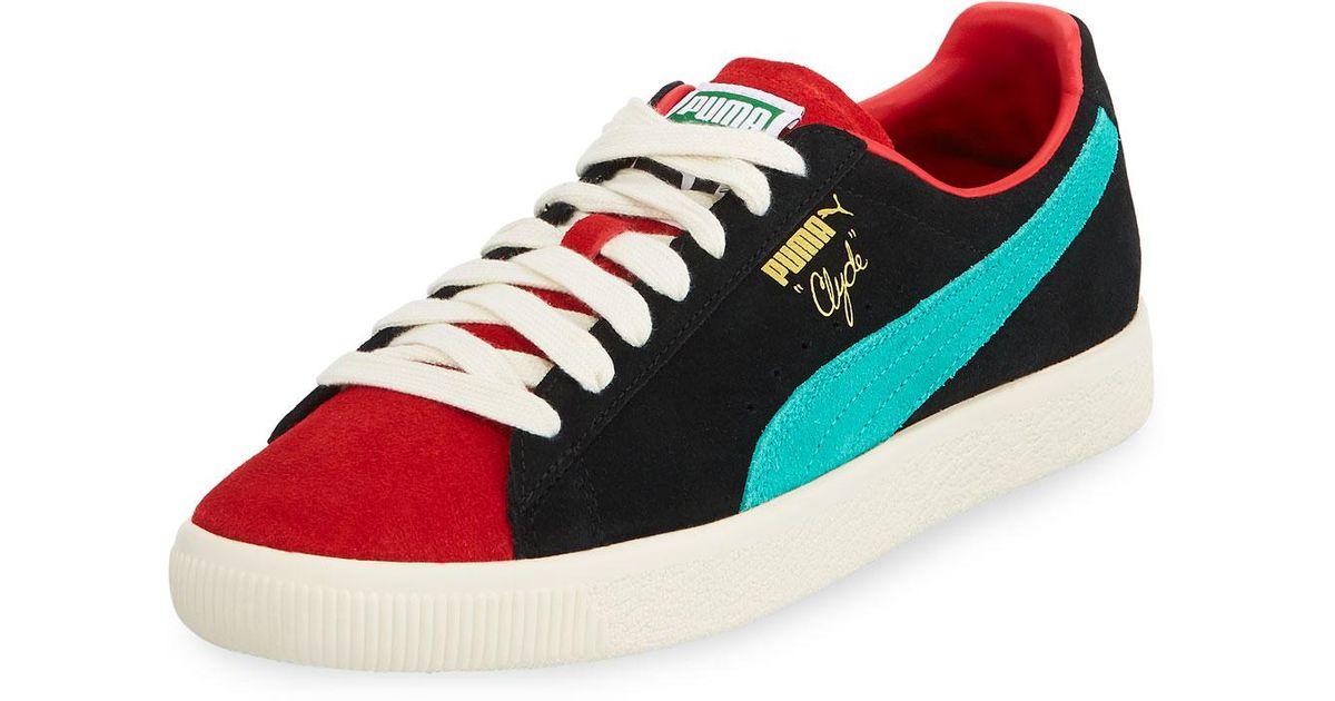 competitive price de80f 5ad6b PUMA Red Men's Clyde Colorblock Suede Platform Low-top Sneakers for men