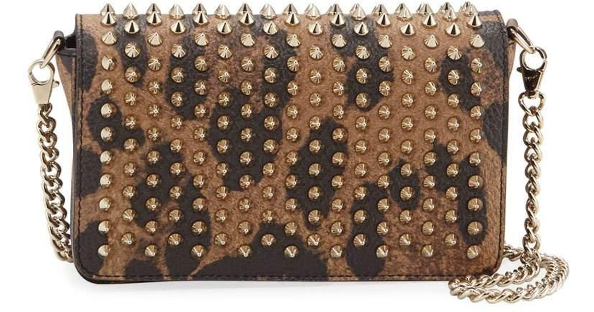 94c9ef30adc Christian Louboutin Brown Zoompouch Calf Empire Spikes Leopard Clutch Bag