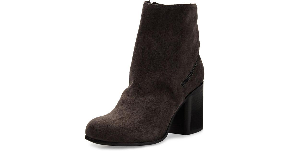 4502baac43be Lyst - Alberto Fermani Cassia Suede Chunky-heel Bootie in Black