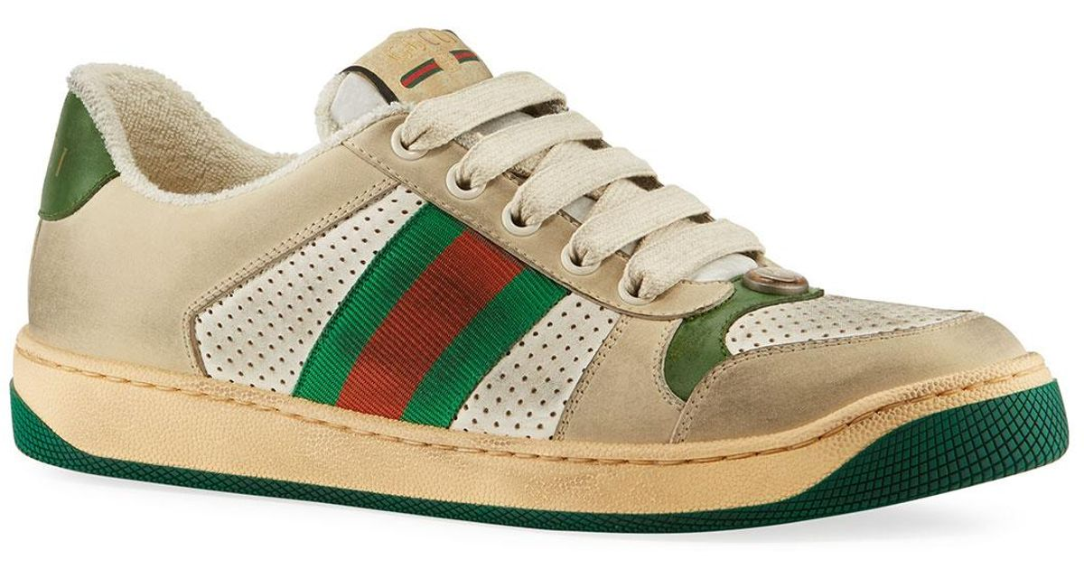 82037c90f17 Lyst - Gucci Screener Dirty Lace-up Sneakers in White for Men