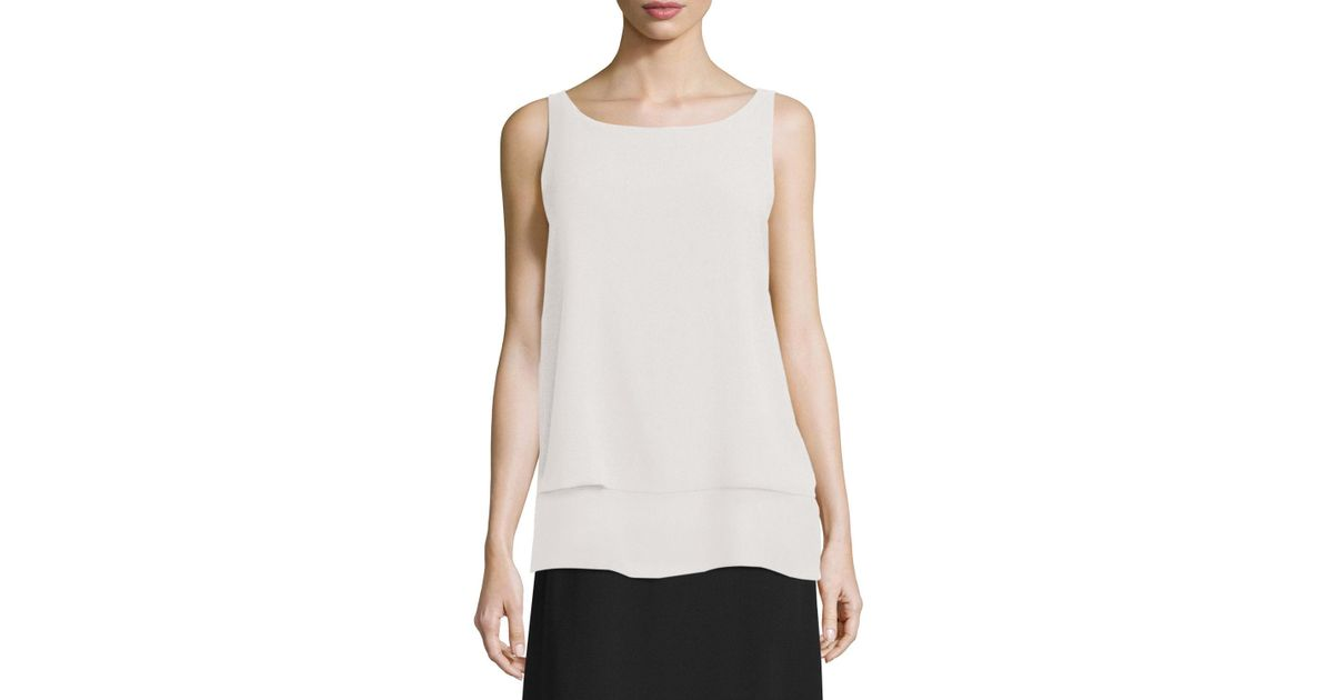 f8a59a5ebd3256 Lyst - Eileen Fisher Layered Silk Tank Top in White