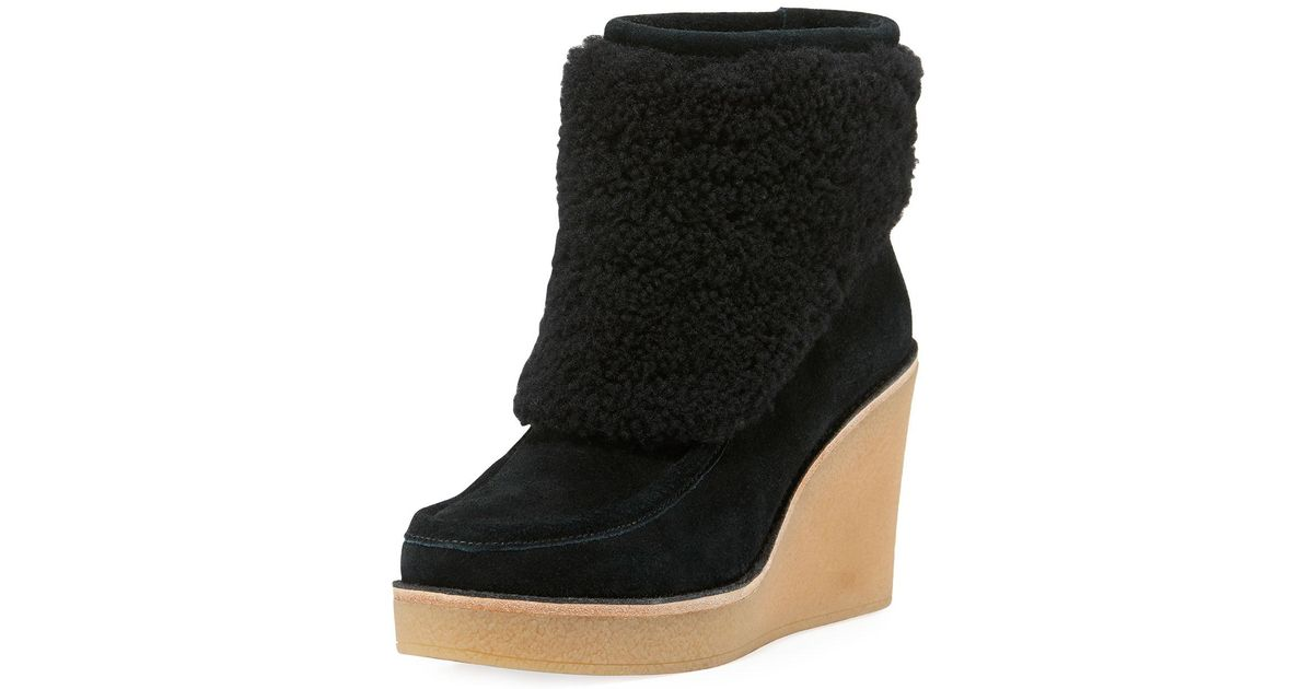 cc0c818c99c Ugg Black Coldin Shearling Wedge Bootie