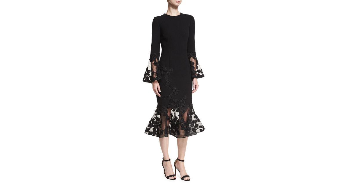 7a71dc2bb0c1 Teri Jon Long-sleeve Crepe Flounce-lace Cocktail Dress in Black - Lyst