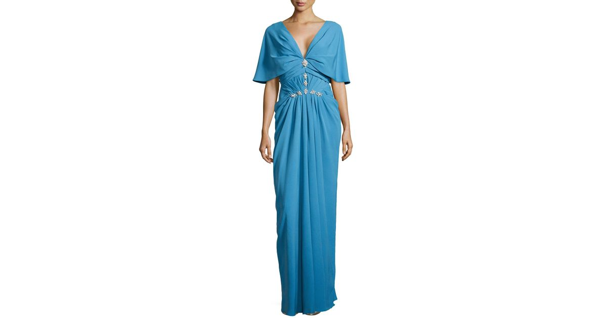 Lyst - J. Mendel V-neck Cowl-sleeve Gown in Blue
