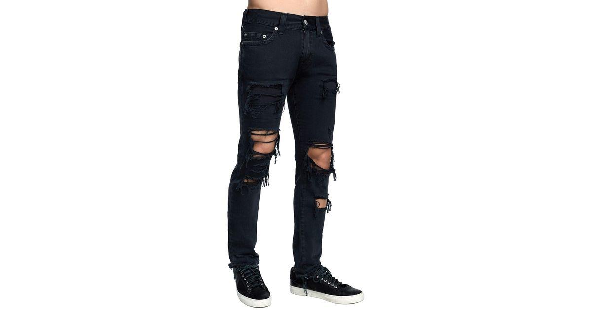 eb579c6de True Religion Men s Rocco Skinny Destroyed Denim Jeans in Blue for Men -  Save 57% - Lyst