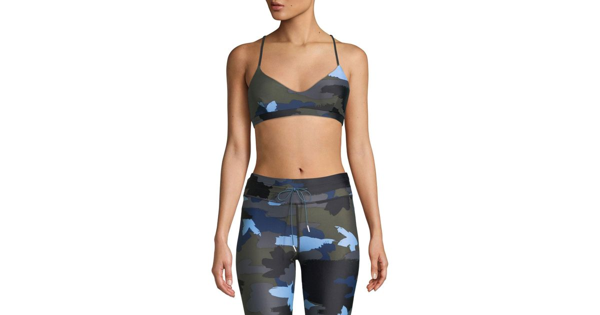 5f888ca112232 Lyst - The Upside Zoe Abstract Camo-print Sports Bra in Blue