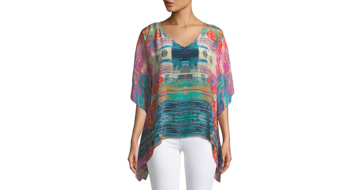 34a585ff08b826 Lyst - Tolani Briyana Watercolor-print Silk Tunic Top