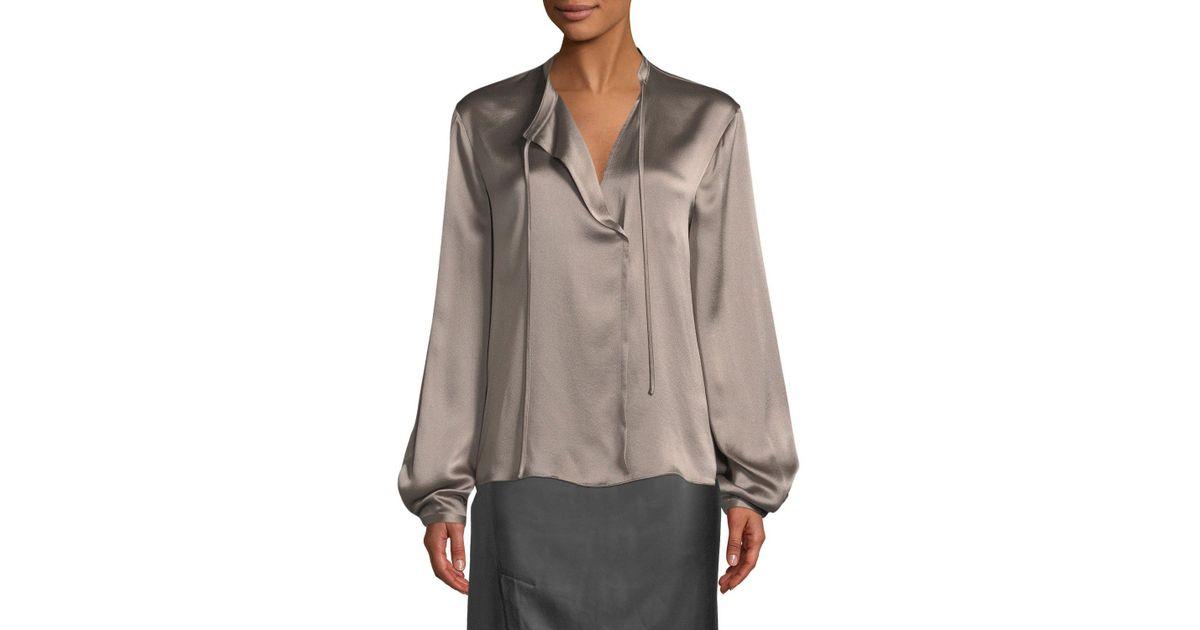 c2cbdd1870c045 Lyst - Vince Silk Tie-neck Long-sleeve Popover Blouse in Brown