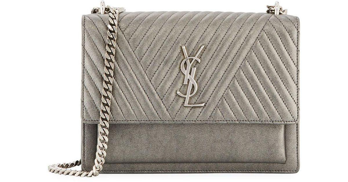 e6f037f6aa Saint Laurent Gray Sunset Medium Triquilt Leather Crossbody Bag