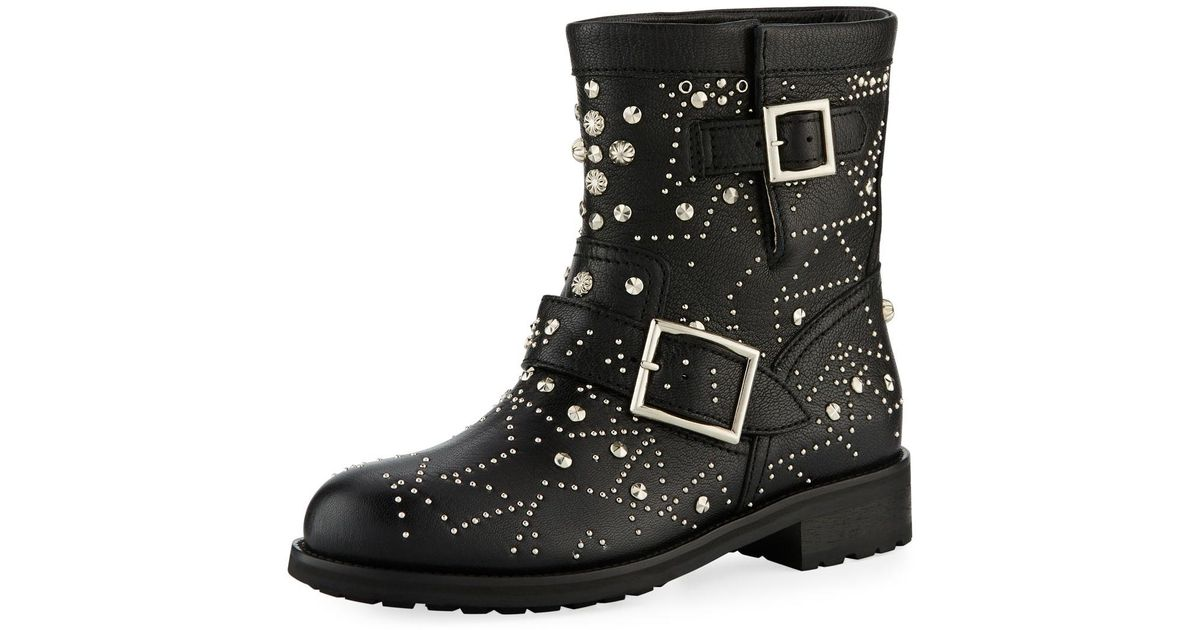 1b5e9a36942 Lyst - Jimmy Choo Youth Star-studded Leather Moto Boot in Black