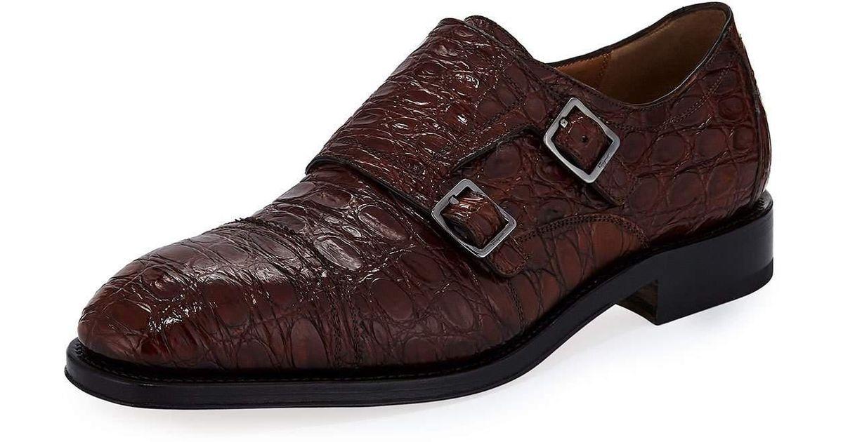 9e2abad88 Lyst - Ferragamo Men s Tramezza Crocodile Double-monk Shoe in Brown for Men