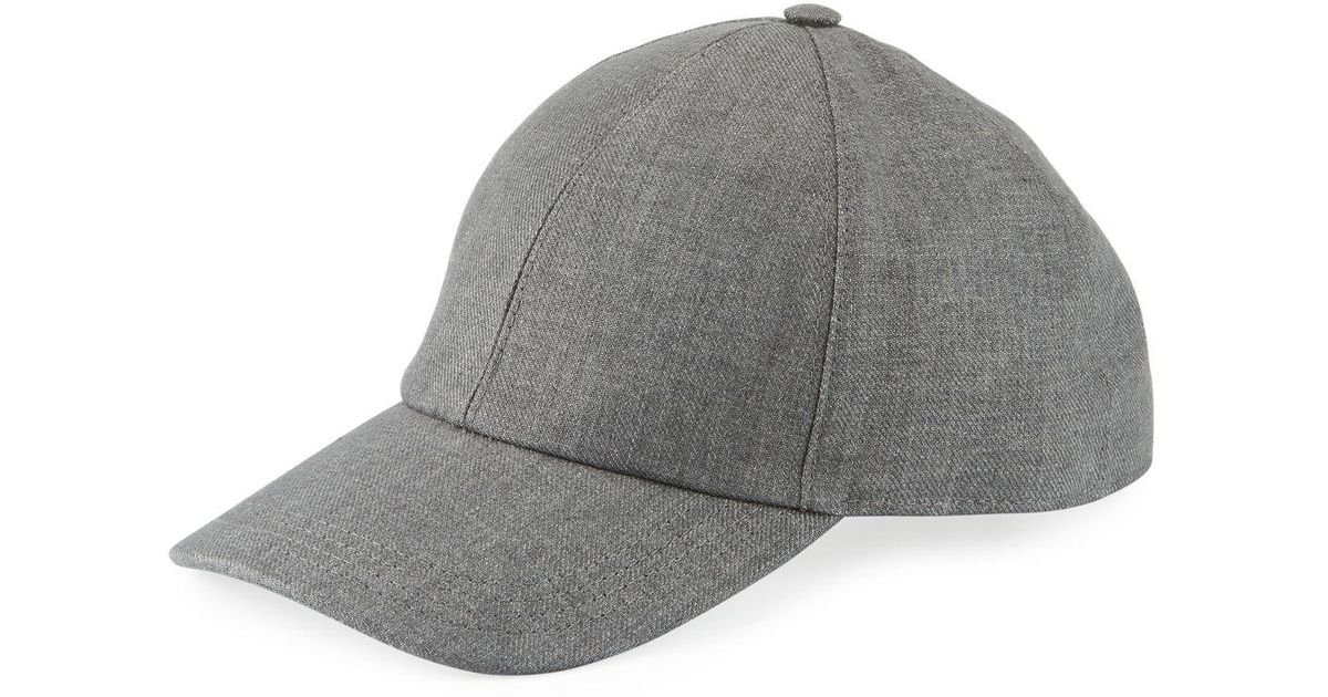 1f7febd22b619 Brunello Cucinelli Solid Linen Baseball Cap in Gray for Men - Lyst