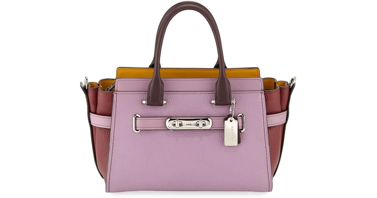 73043ecc2e61c Lyst - COACH Swagger 27 Colorblock Pebbled Leather Tote Bag in Purple