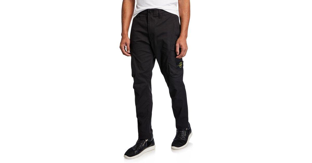 stone island black seersucker cargo pants