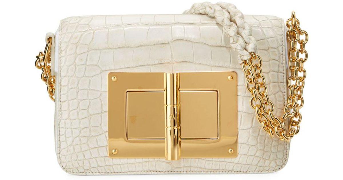 8735c621e257b Tom Ford Natalia Medium Alligator Shoulder Bag in White - Lyst