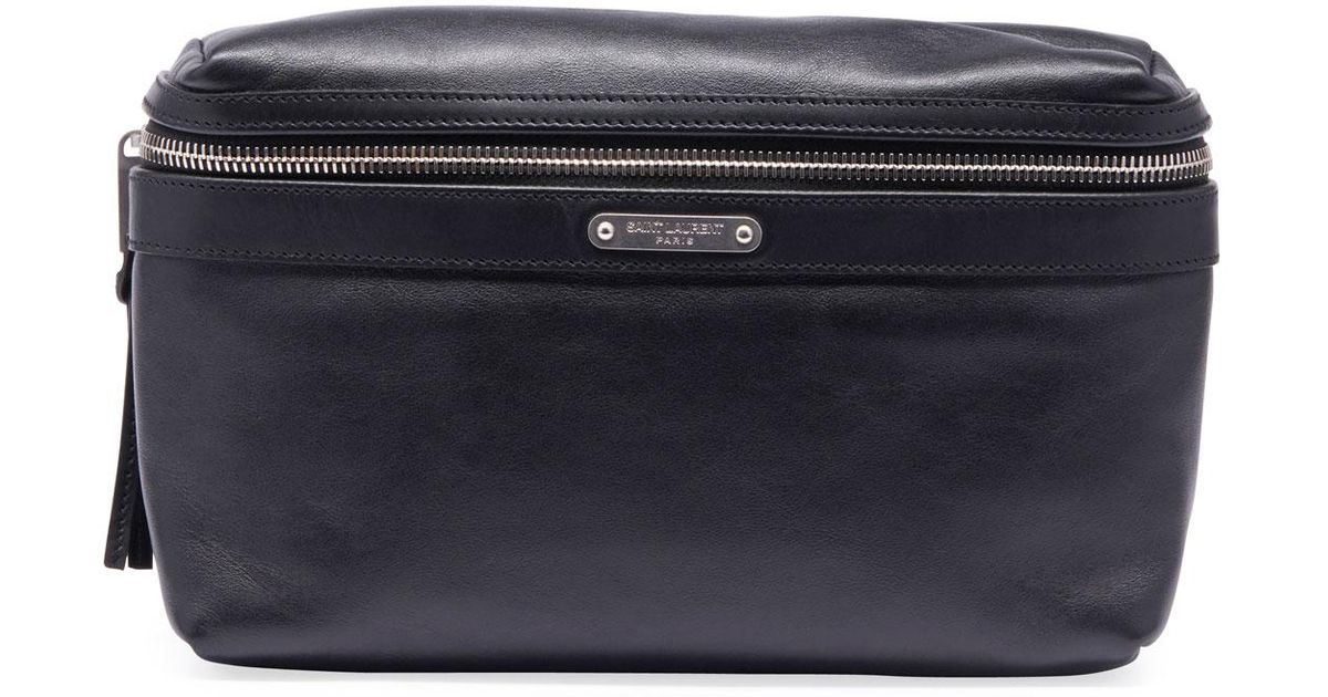 721999be Saint Laurent Black Men's Ysl Marsupio Leather Belt Bag for men