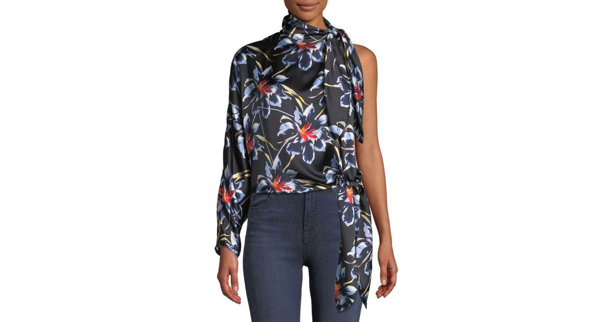 f940d2ce4bc971 Diane von Furstenberg One-shoulder Silk Floral Knotted Blouse in Black -  Lyst