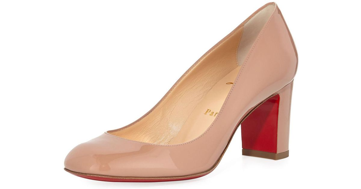 2c8500fdc2b5 Lyst - Christian Louboutin Cadrilla Patent Block-heel Red Sole Pump in  Natural