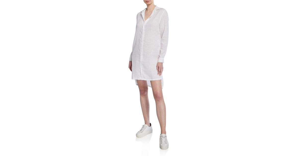 17ce5b9e5b Lyst - Frank   Eileen Hunter Button-down Long-sleeve Woven Cotton Shirtdress  in White