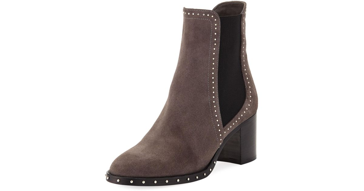 a60b9ca20eb Lyst - Jimmy Choo Merril Suede Studded Booties in Brown
