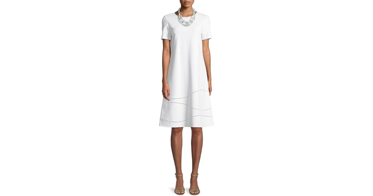 4e1523fef15a Lafayette 148 New York Jasmin Shift Dress in White - Save 22% - Lyst
