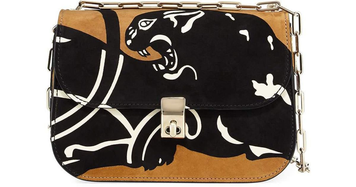 10d5d38e69a Lyst - Valentino Panther Suede Chain Shoulder Bag in Brown