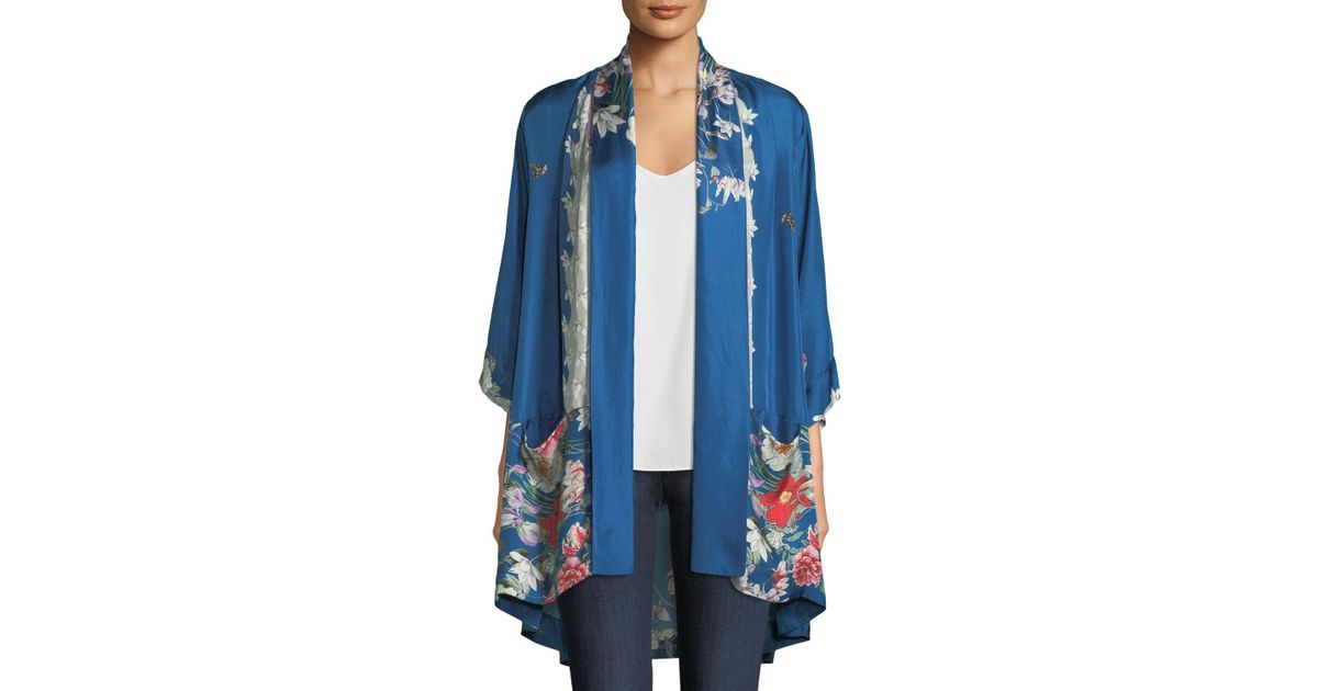 711360cab44 Lyst - Johnny Was Samira Long Floral-print Silk Kimono Jacket in Blue