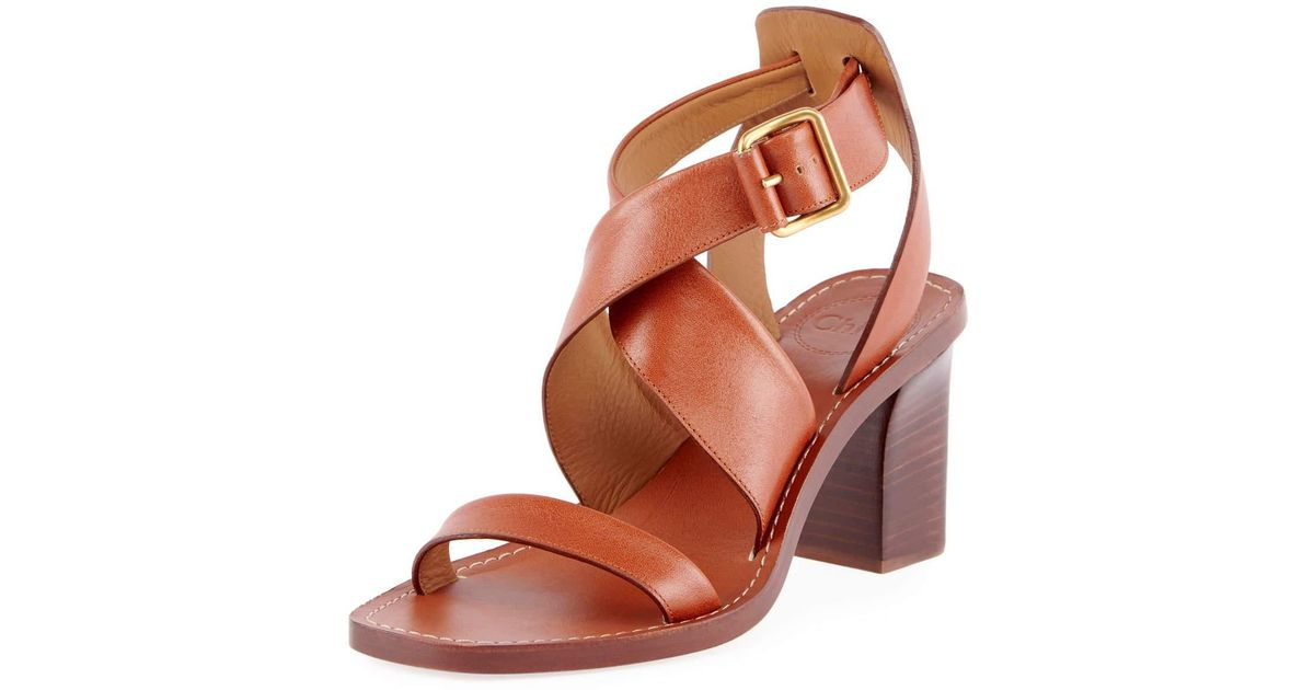4ab44da454c Chloé Brown Virginia Strappy Leather Block-heel Sandals