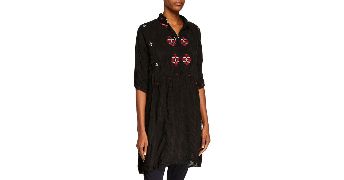 da83c70a2e4 Lyst - Johnny Was Pocca Half-sleeve Embroidered Tunic Dress in Black - Save  9%