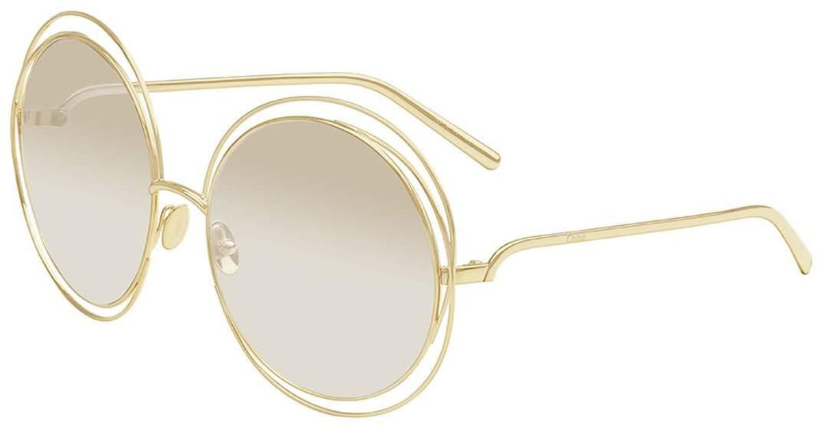 7a7b11df3c1 Lyst - Chloé Carlina Round Mirrored Sunglasses in Metallic