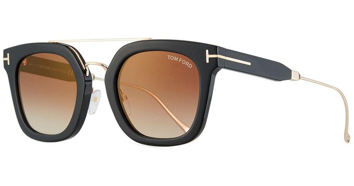 16b742b78dd8 Lyst - Tom Ford Alex Plastic   Metal Square Unisex Sunglasses in Black