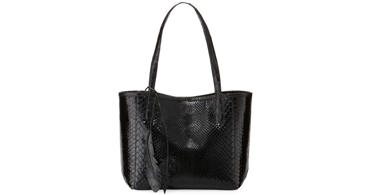 a072ad2896af Lyst - Nancy Gonzalez Erica Small New Python Leaf Tote Bag in Black