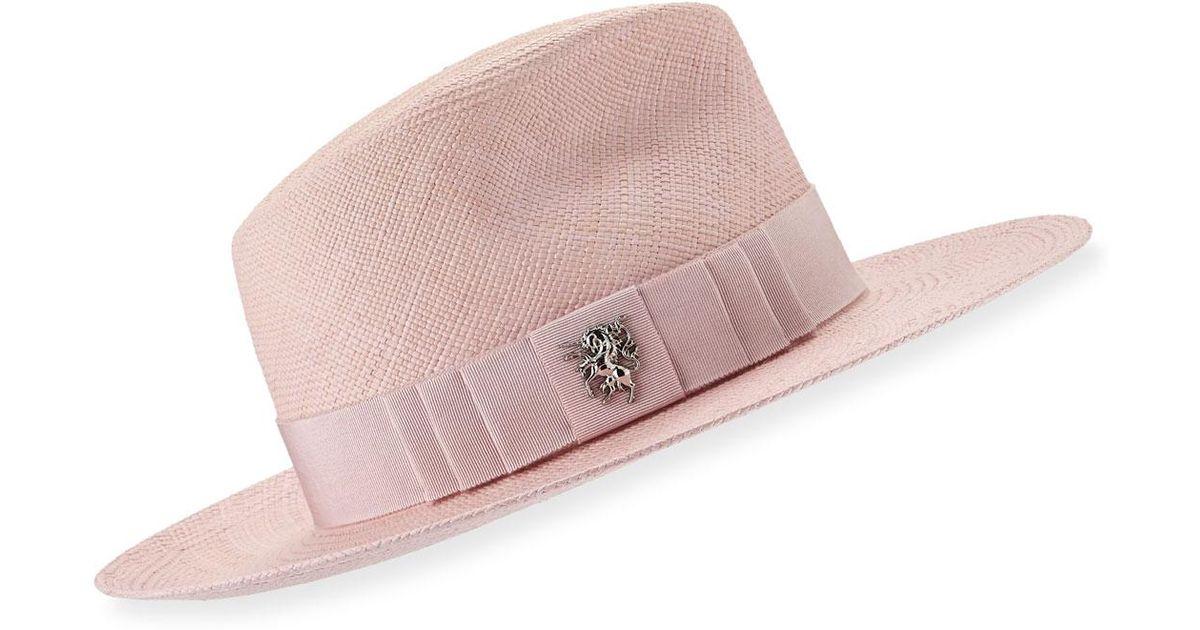 Lyst - Philip Treacy Straw Trilby Hat in Pink for Men 798f249e4e72