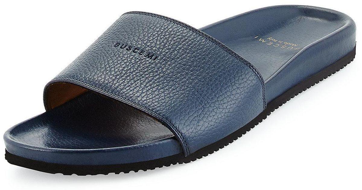 Leather Men Slide Sandals For Blue Buscemi D9IW2EH
