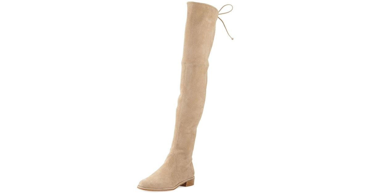 58804c712a0 Lyst - Stuart Weitzman Lowland Suede Over-the-knee Boot in Natural