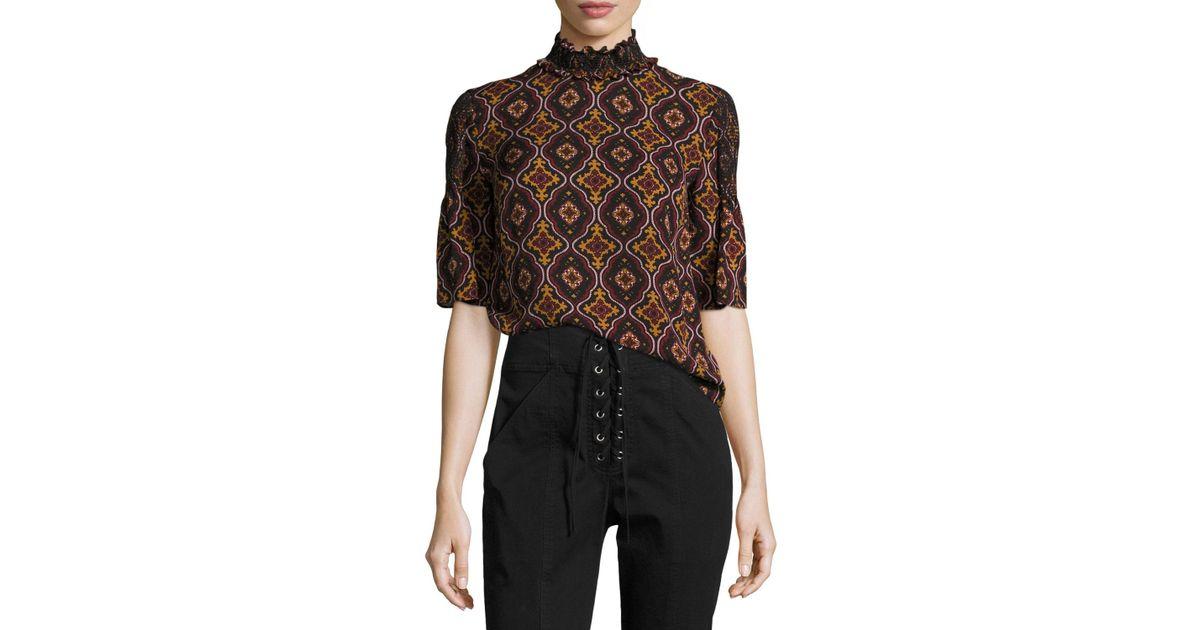 A.L.C. Miranda Printed Smocked-collar Short-sleeve Silk