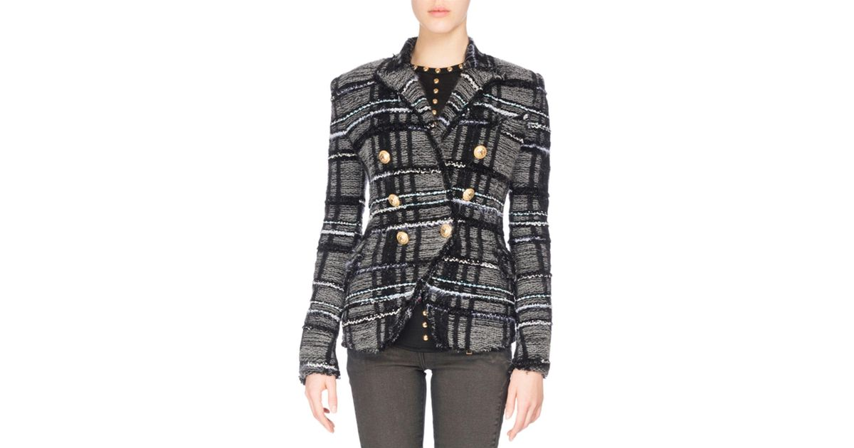 d7782f66 Lyst - Balmain Tweed Tartan Jacket in Black