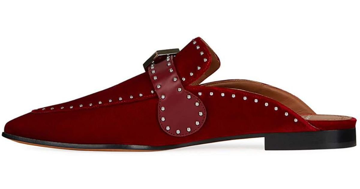 6d4148abe4f Lyst - Givenchy Elegant Studded Velvet Loafer Mule in Red