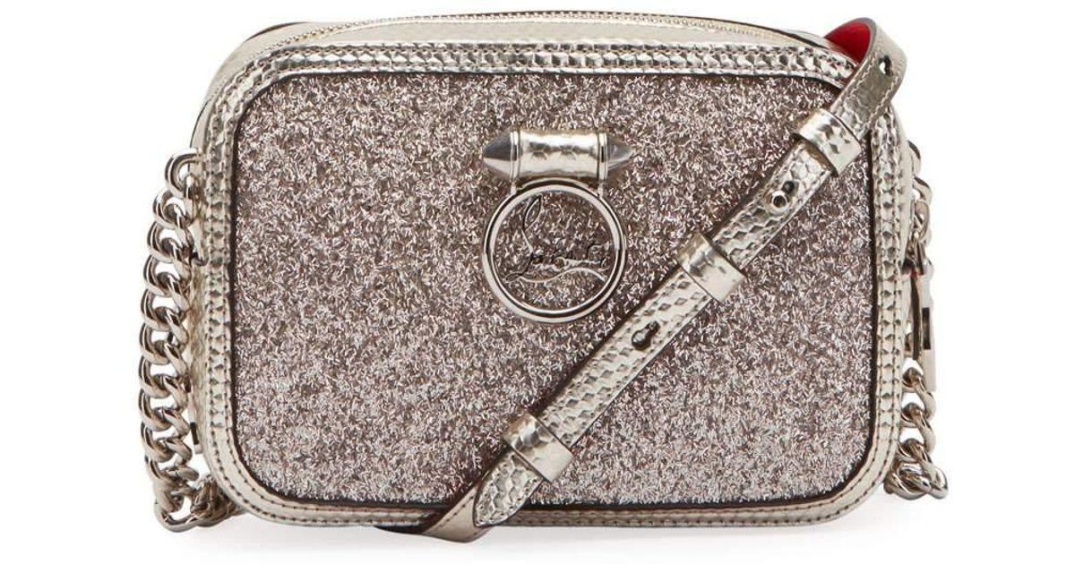 916274ae469 Christian Louboutin - Metallic Rubylou Mini Glitter Cubiste Crossbody Bag -  Lyst