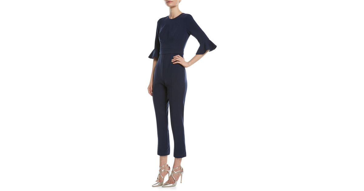 02333f2e6da Lyst - Black Halo Brooklyn 3 4-bell-sleeve Jumpsuit in Blue