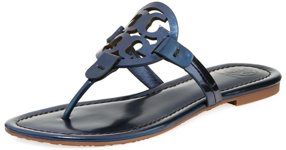 7c294c056f446 Lyst - Tory Burch Miller Metallic Flat Slide Sandal in Blue