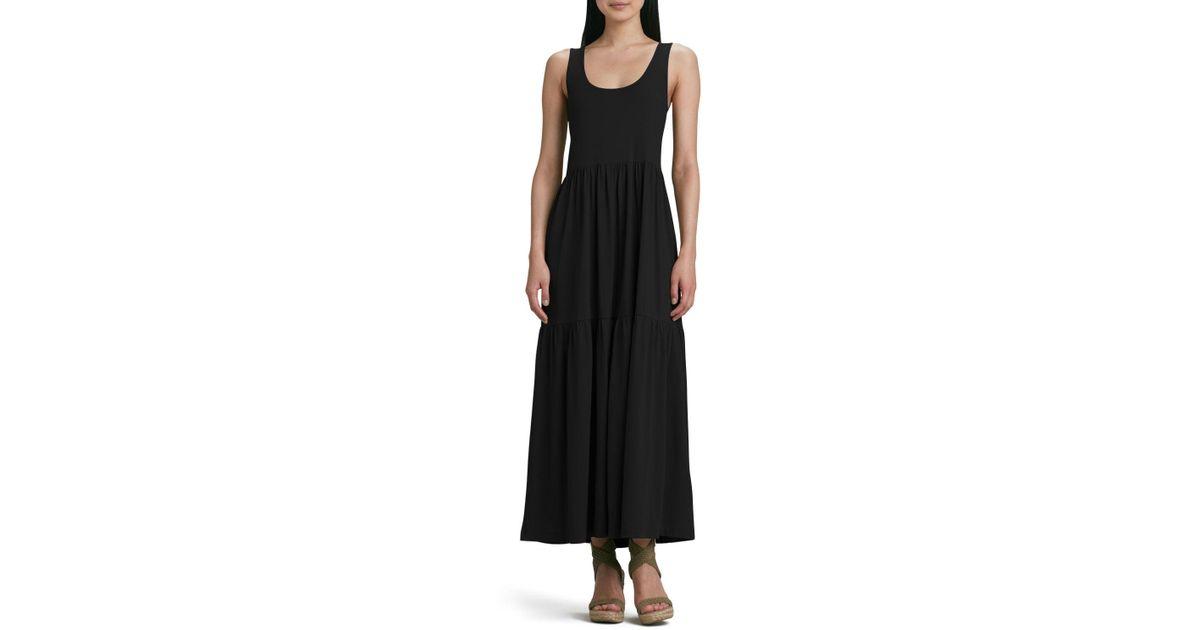 Joan Vass Natural Plus Size Tiered Long Tank Dress