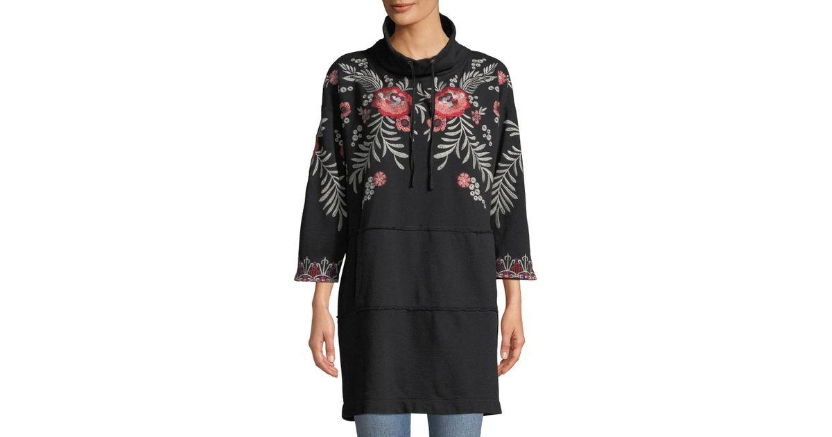bc6b07cefbd Lyst - Johnny Was Petite Maya Mock-neck French-terry Sweatshirt Dress W   Embroidery in Black - Save 36%