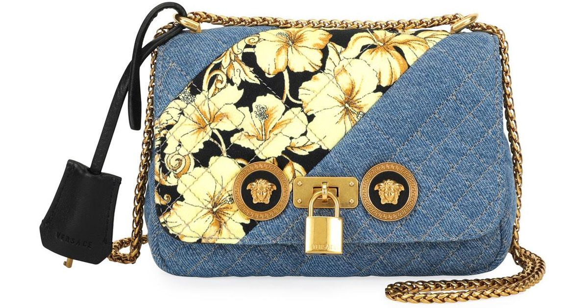 bbcf5aafc26d Lyst - Versace Icon Small Denim Crossbody Bag With Barocco Detail in Blue