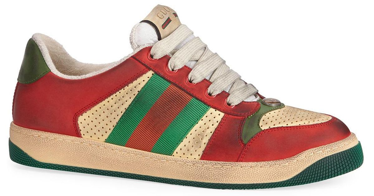 05a6c22db8d Lyst - Gucci Men s Distressed Leather Sneakers in Red for Men